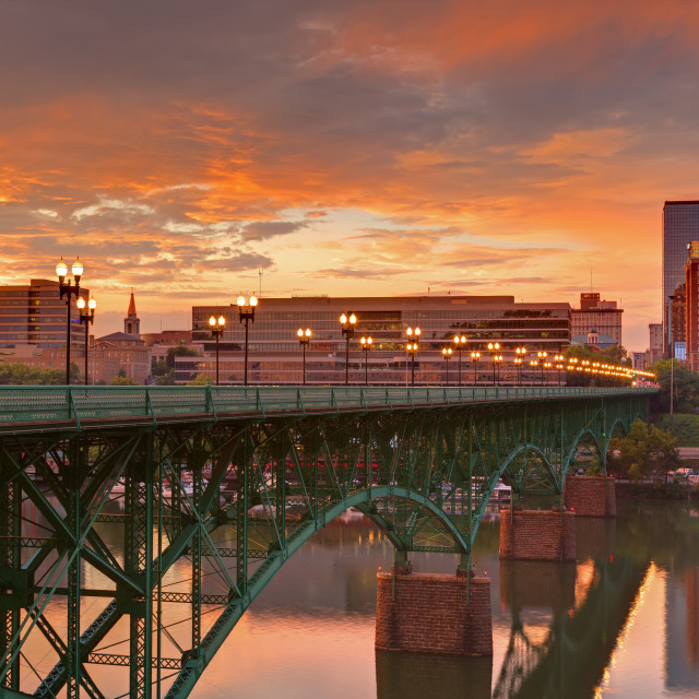 """""""Gay Street Bridge and Tennessee River, Knoxville, Tennessee, United States of..."""" stock image"""