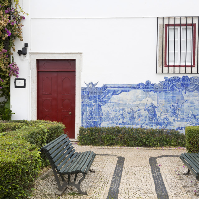 """Julio de Castillo Garden, St. Luzia Church, Alfama District, Lisbon,..."" stock image"