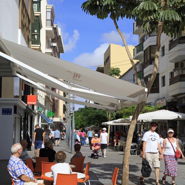 """Cafe on Calle Leon Castillo, Arrecife, Lanzarote Island, Canary Islands,..."" stock image"