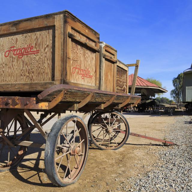 """Wagon in Yuma Quartermaster Depot State Historic Park, Yuma, Arizona, United..."" stock image"