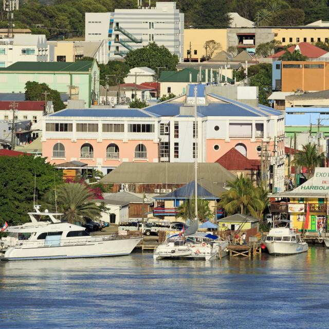 """Waterfront in St. John's, Antigua, Antigua and Barbuda, Leeward Islands, West..."" stock image"