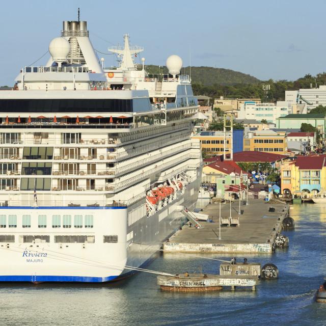 """Cruise ship in St. John's Harbour, Antigua, Antigua and Barbuda, Leeward..."" stock image"