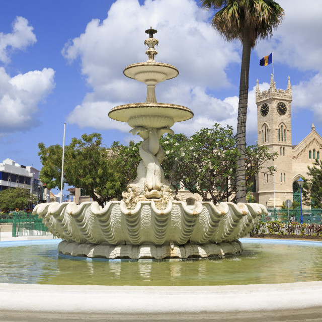 """""""Fountain in National Heroes Square, Bridgetown, Barbados, West Indies,..."""" stock image"""