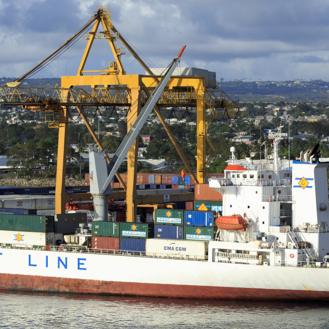 """""""Container ship in Deep Water Harbour, Bridgetown, Barbados, West Indies,..."""" stock image"""