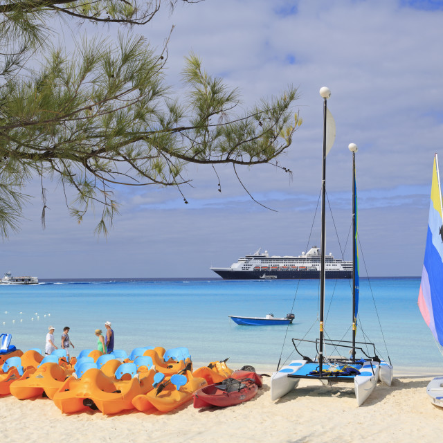 """Cruise ship anchored off Half Moon Cay"" stock image"