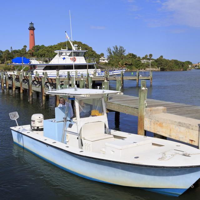 """Jupiter Inlet Lighthouse & Marina,Jupiter,Florida,USA,North America"" stock image"