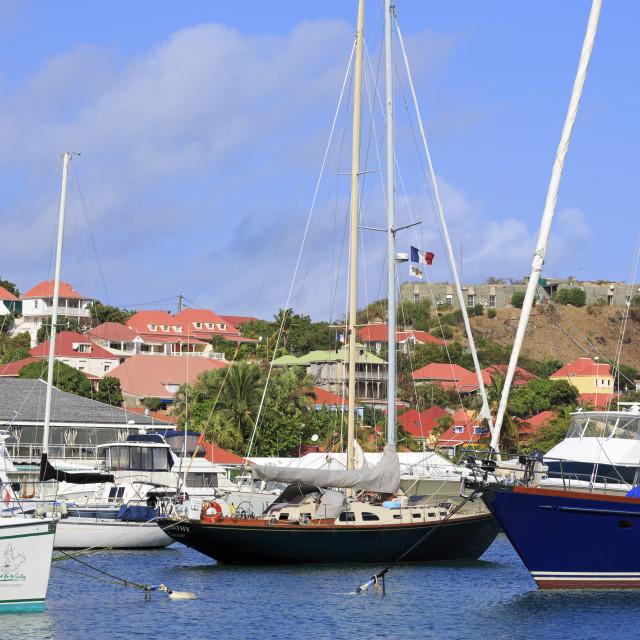 """Boats in Gustavia Harbor,St. Barts,Caribbean"" stock image"