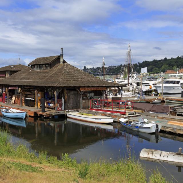 """Center for Wooden Boats, Lake Union Park, Seattle, Washington State, United..."" stock image"