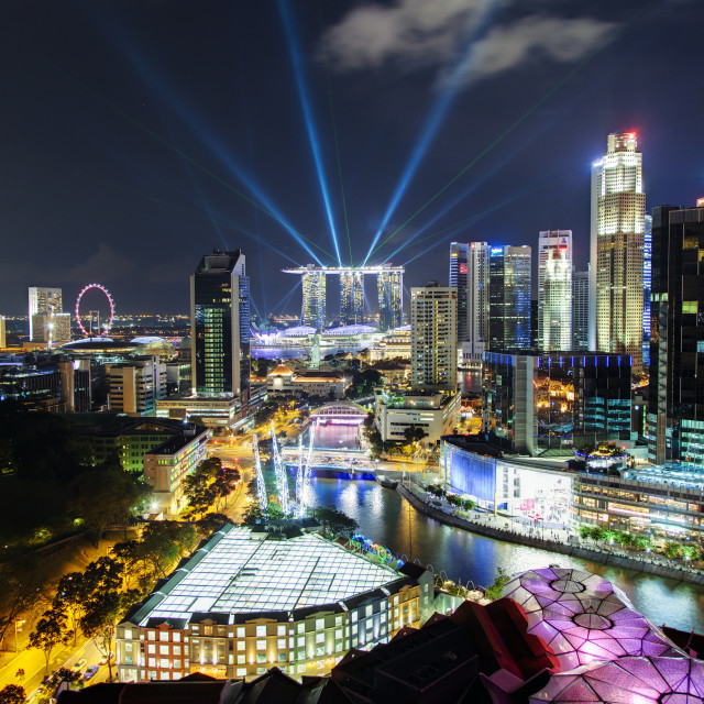 """""""South East Asia, Singapore, Elevated view over the Entertainment district of..."""" stock image"""