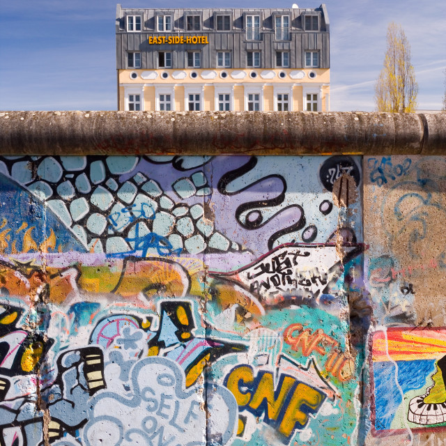 """""""Europe, Germany, Berlin, former section of Berlin Wall, view from former West..."""" stock image"""