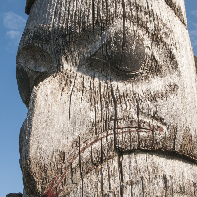 """First Nation totem pole at the courthouse in Prince Rupert, British Columbia,..."" stock image"