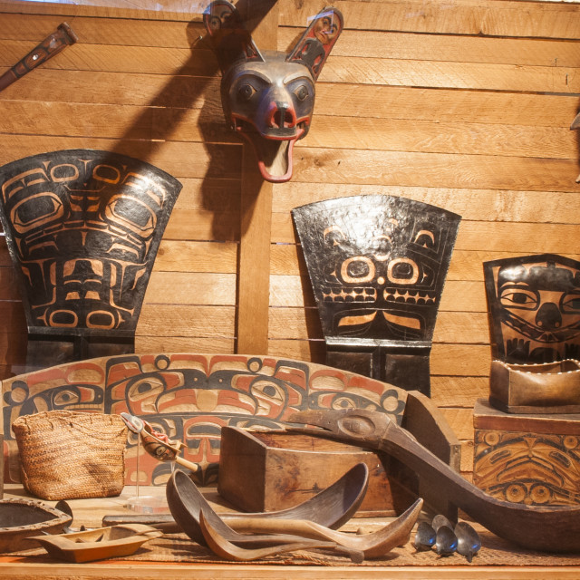 """First Nation's artifacts at the Museum of Northern British Columbia, Prince..."" stock image"