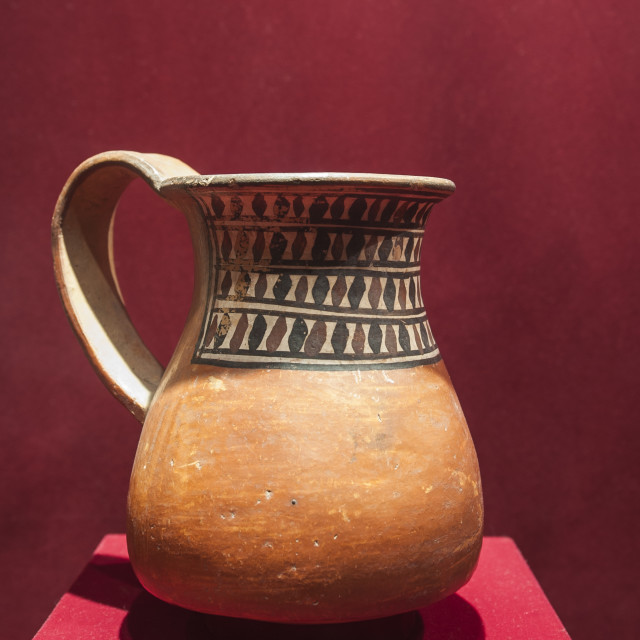 """""""Pre-Columbian pottery in the Museum of Archaeology, Trujillo, Peru, South..."""" stock image"""