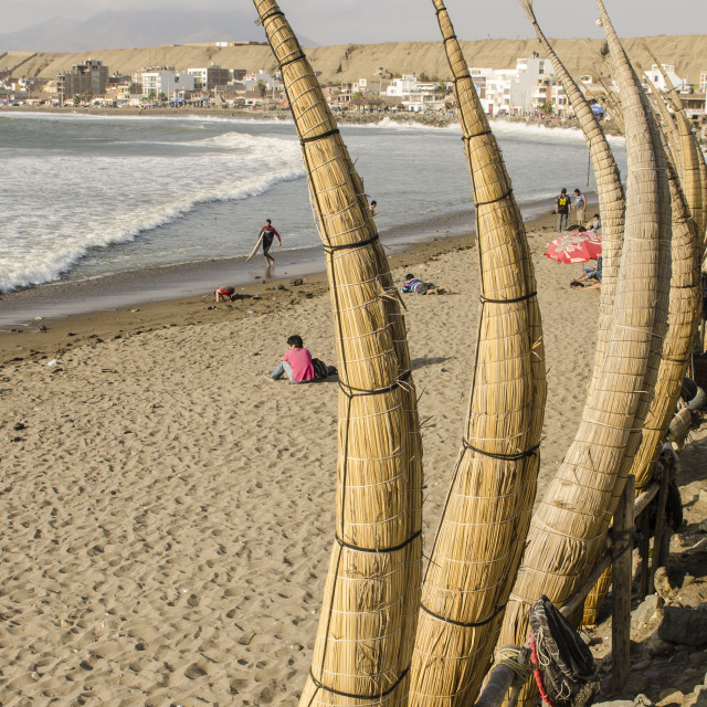 """Caballitos de totora (reed boats) on the beach in Huanchaco, Peru, South America"" stock image"