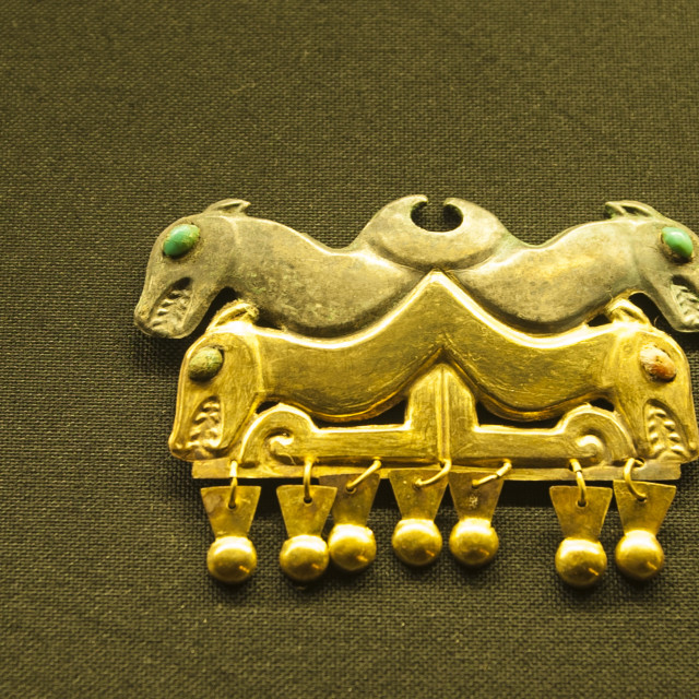 """""""Gold artifacts in Cao Museum in the El Brujo Archaeological Complex near..."""" stock image"""