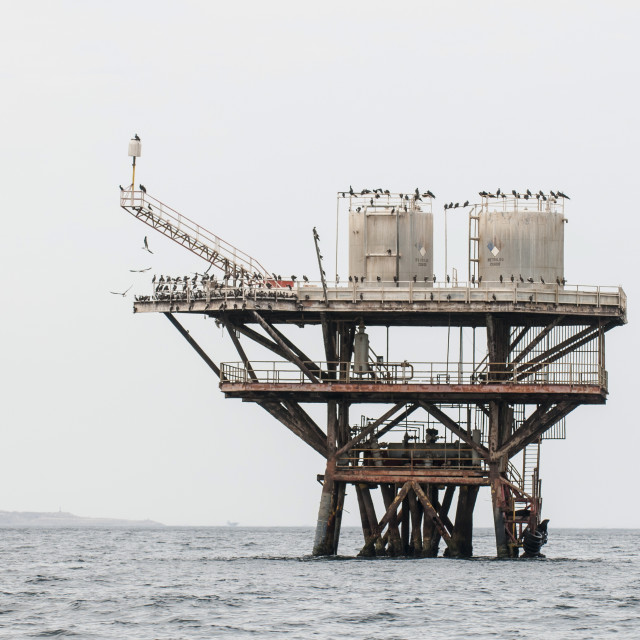 """Oil platform near Cabo Blanco, Peru, South America"" stock image"