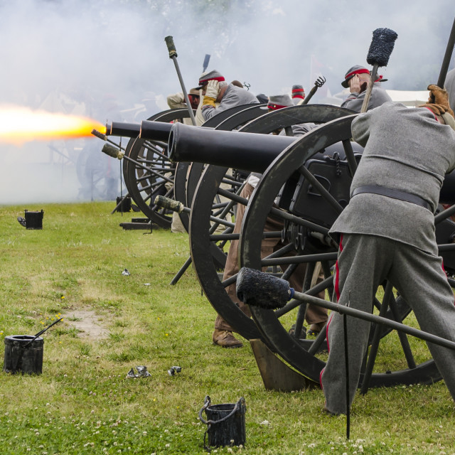 """Confederate artillery unit cannon action during Thunder on the Roanoke Civil..."" stock image"