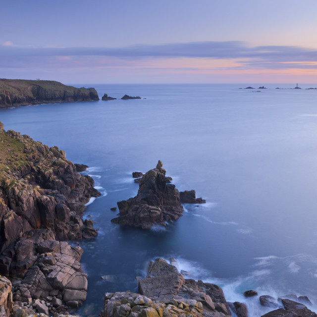 """Land's End and Longships Lighthouse, Cornwall, England, United Kingdom, Europe"" stock image"
