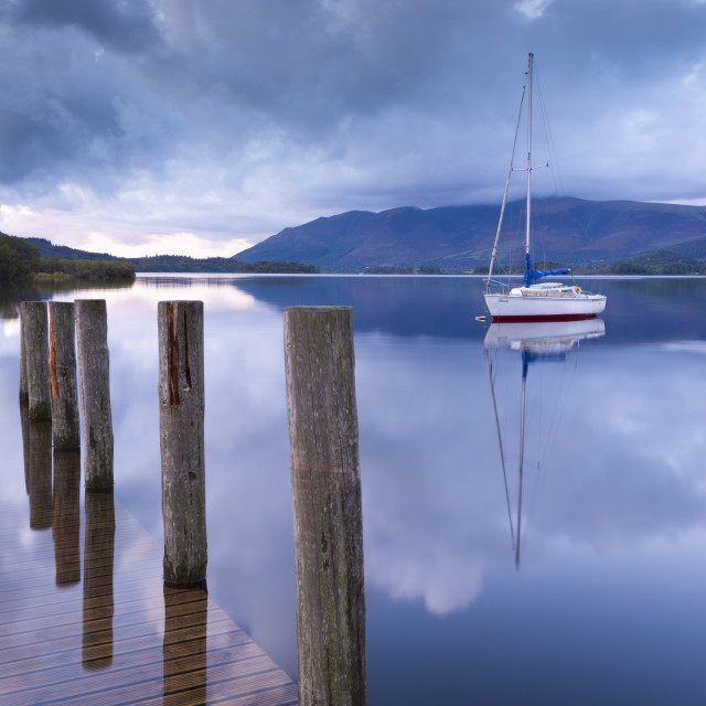 """""""Yacht moored near Lodore boat launch on Derwent Water, Lake District National..."""" stock image"""