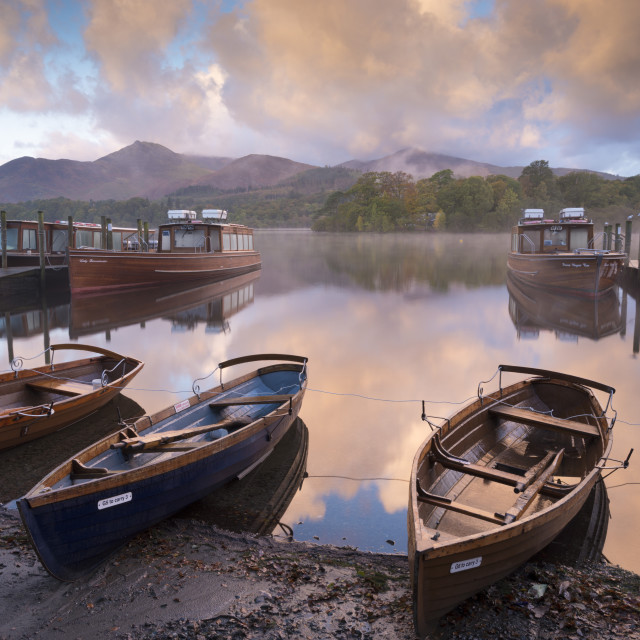 """""""Boats and jetties near Friars Crag at dawn, Derwent Water, Lake District..."""" stock image"""
