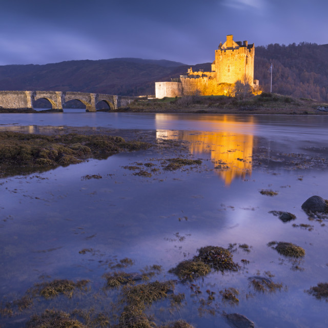 """Eilean Donan Castle on Loch Duich at twilight, Western Highlands, Scotland,..."" stock image"