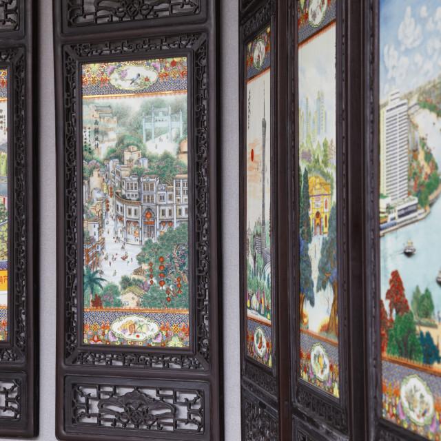 """Decorative screens at Chen Clan Academy, Guangzhou, Guangdong, China, Asia"" stock image"