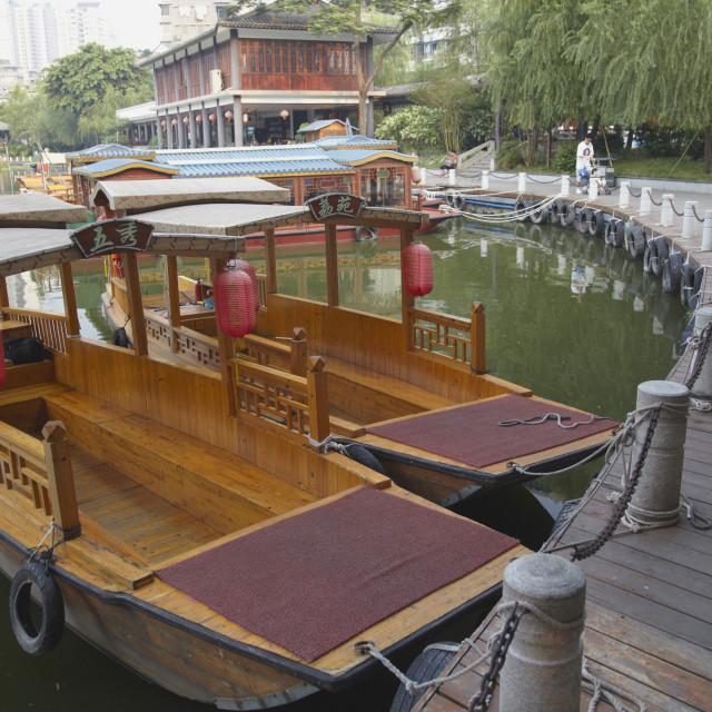 """""""Wooden boats at Liwan Park, Guangzhou, Guangdong, China, Asia"""" stock image"""