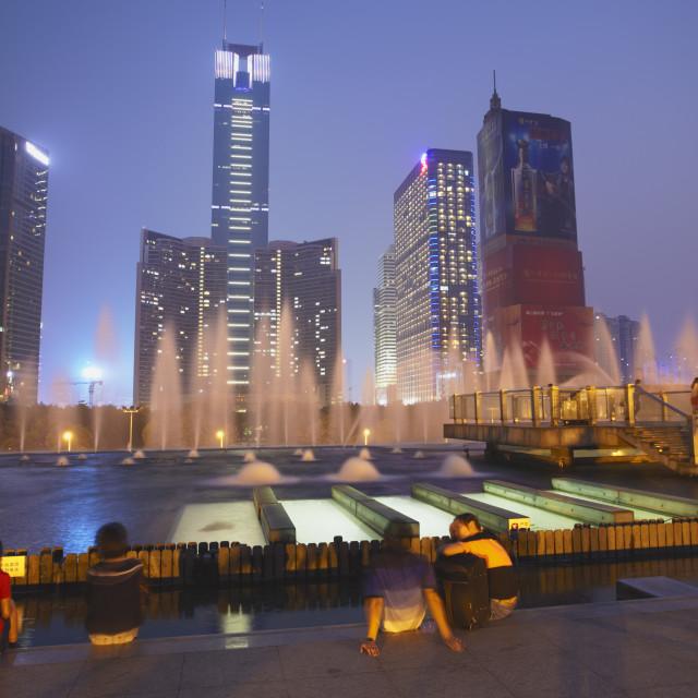 """CITIC Plaza at dusk, Tianhe, Guangzhou, Guangdong, China, Asia"" stock image"