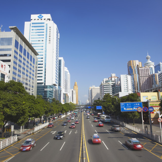 """Downtown traffic, Shenzhen, Guangdong, China, Asia"" stock image"