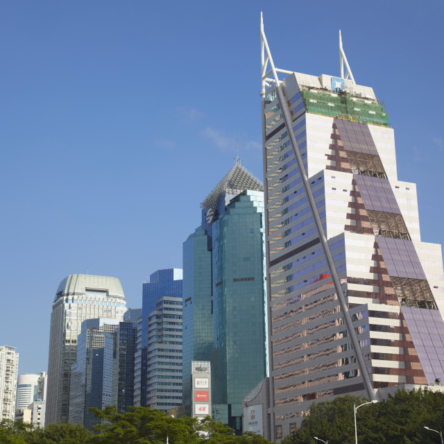"""""""Skyscrapers in downtown Shenzhen, Guangdong, China, Asia"""" stock image"""