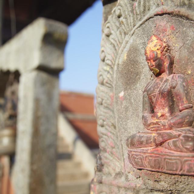 """Statue at Bhagwati Shiva Temple, Dhulikhel, Kathmandu Valley, Nepal, Asia"" stock image"