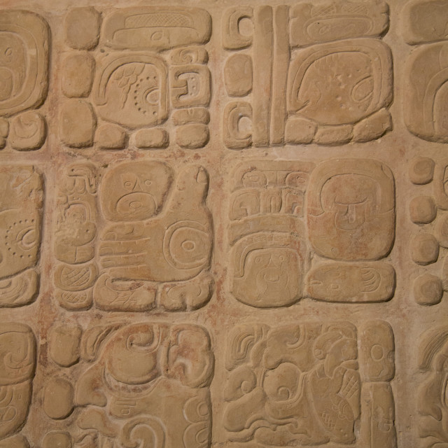 """""""Palace tablet with hieroglyphs, Archaeological Museum of Palenque, Palenque..."""" stock image"""