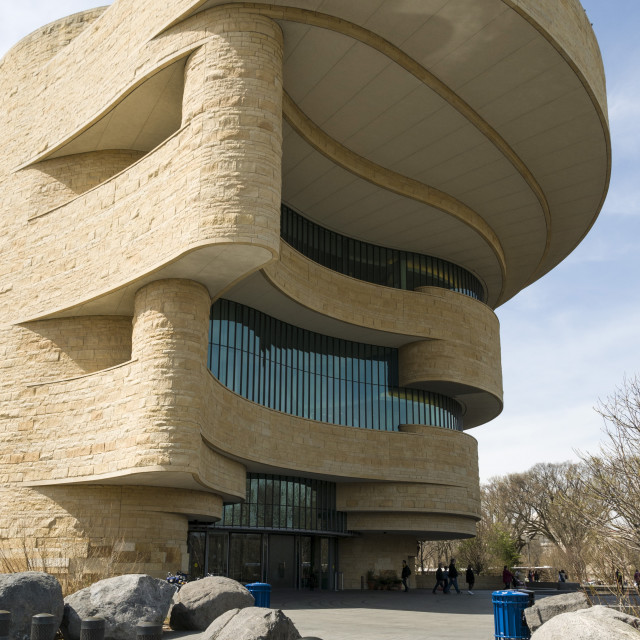 """""""Entrance to Smithsonian National Museum of the American Indian in Washington,..."""" stock image"""