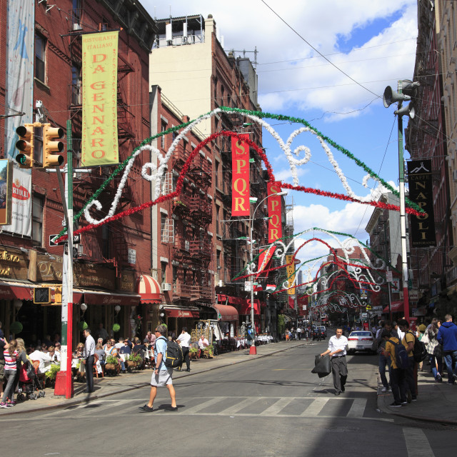"""Mulberry Street, Little Italy, Manhattan, New York City, United States of..."" stock image"