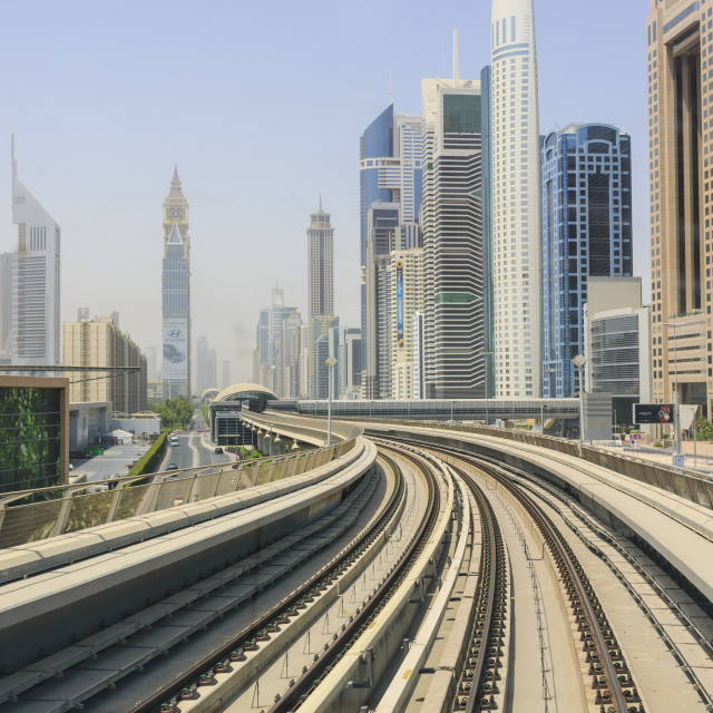 """Elevated Metro track on Sheikh Zayed Road, Dubai, United Arab Emirates,..."" stock image"