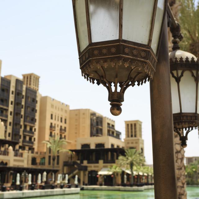 """Madinat Jumeirah Hotel, Dubai, United Arab Emirates, Middle East"" stock image"