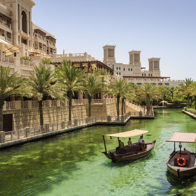 """Dhows cruise around the Madinat Jumeirah Hotel, Dubai, United Arab Emirates,..."" stock image"
