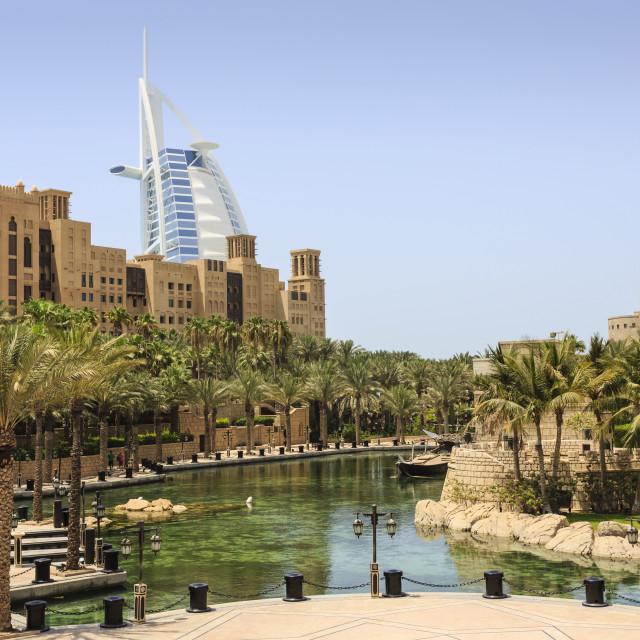 """Madinat Jumeirah Hotel and Burj Al Arab, Dubai, United Arab Emirates, Middle..."" stock image"