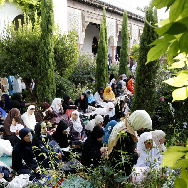"""""""Muslims at the Paris Great Mosque on Eid al-Fitr festival, Paris, France, Europe"""" stock image"""