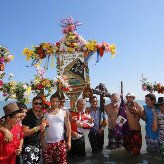 """Gypsy pilgrimage at Les Saintes-Maries-de-la-Mer, Bouches-du-Rhone, France,..."" stock image"