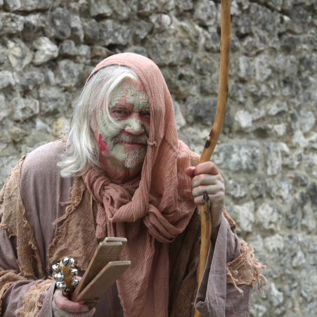 """The village of the leprous, medieval festival of Provins, UNESCO World..."" stock image"