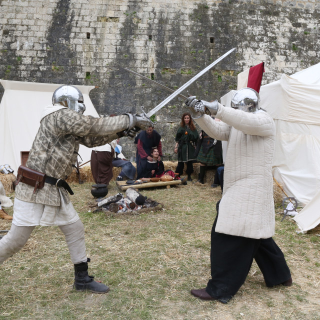 """""""Battle of knights, the medieval festival of Provins, UNESCO World Heritage..."""" stock image"""