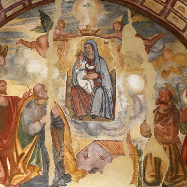 """Fresco of Mary's Coronation in the Cripta del Crocefisso (Crypt of the..."" stock image"