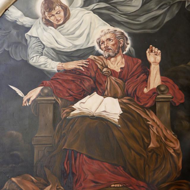 """Painting depicting the evangelist St. Matthew in Nativita Beata Vergine Maria..."" stock image"