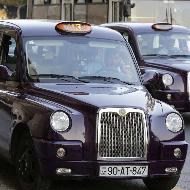 """""""Baku taxis, Azerbaijan, Central Asia, Asia"""" stock image"""
