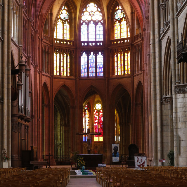 """""""The nave, Nevers cathedral, Burgundy, France, Europe"""" stock image"""