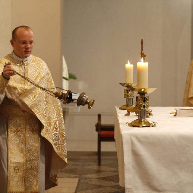 """Orthodox Mass, St. Jean Chrysotome liturgy, Villemomble, Seine-St. Denis,..."" stock image"