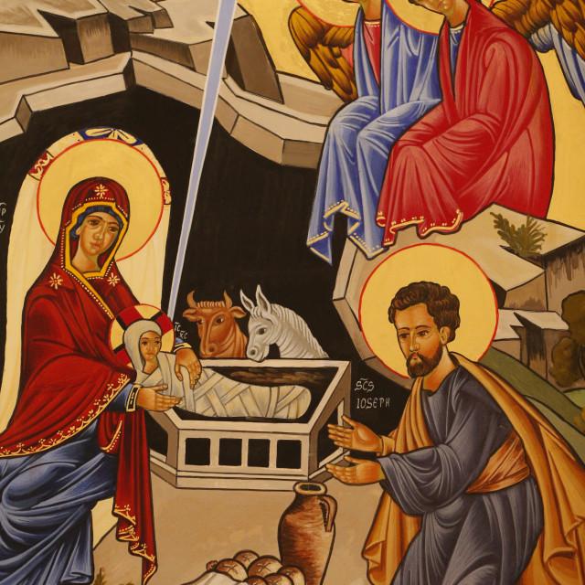 """Christmas crib depicting The Nativity, Rome, Lazio, Italy, Europe"" stock image"