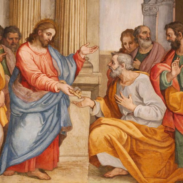 """Jesus and St. Peter, Santa Maria in Traspontina church, Rome, Lazio, Italy,..."" stock image"