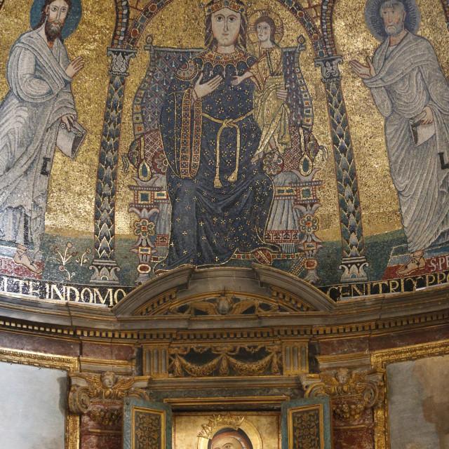 """""""Mosaic of Mary and Jesus, Santa Francesca Romana church, Rome, Lazio, Italy,..."""" stock image"""